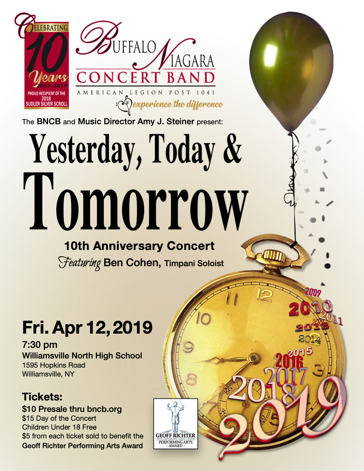 Yesterday, Today, and Tomorrow — 10th Anniversary Concert @ Williamsville North High School | Buffalo | New York | United States